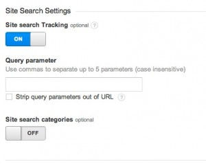 Google Analytics Site Search Options Turned On
